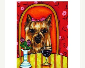 20 % off storewide Yorkshire Terrier , print, yorkie, wine, wine art, yorkshire terrier print, wine print, gift for wine lover