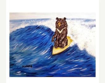 20 % off storewide Black Bear Surfing Art Print