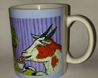 20% off Goat at the cafe coffee shop art mug cup 11 oz gift