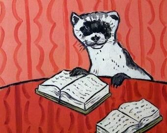20% off Ferret Reading Animal Art TILE Coaster gift JSCHMETZ modern abstract folk pop art american ART