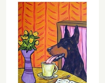 20% off DOBERMAN pinscher, doberman art, doberman print, coffee art, wall art, coffee gift, modern dog art, 11x14 print
