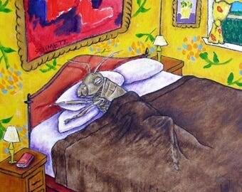 Grasshopper Sleeping Insect Art Tile