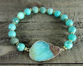 Chrysoprase Stretch Gemstone Bracelet, Stackable Bracelets