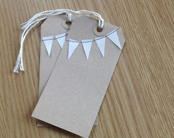 CLOSING DOWN SALE Handmade bunting gift tags - kraft brown with cream