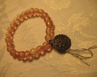 Good Fortune Long Life Pink Quartz Amulet Talisman Omamori Charm Bracelet