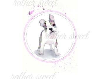 Floral Boston Terrier Dog/ Art Printable/ Watercolor Instant Art/Digital Download/Greeting Card/Dog Wall Art/Home Decor/Pink Rose Design/DIY