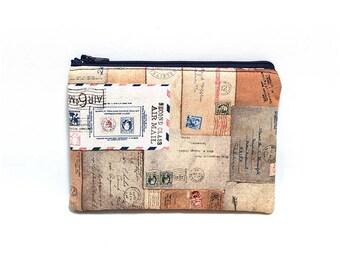 Cosmetic Case, Cord Case, Bridesmaid Gifts, All-Purpose Zipper Case, Tan Postcards 9054