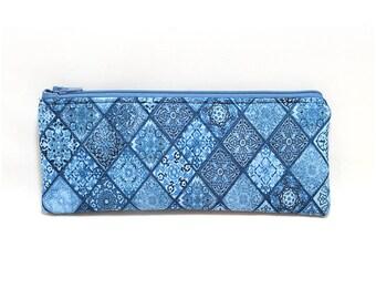 Cosmetic Case, Cord Case, Bridesmaid Gifts, All-Purpose Zipper Case, Blue Tile 9068
