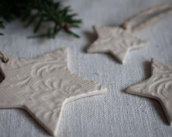 Medium Clay Christmas Star Ornaments