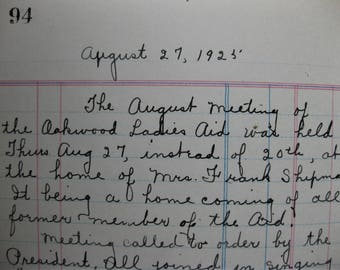 Vintage Journal, Oakwood Ladies Aid, 1921, Packed with Meeting Notes, Tabbed Index