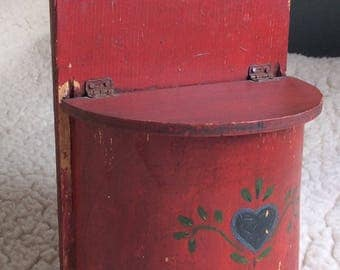 PRIMITIVE SALTBOX Vintage, PAINTED, container, wall sconce, half round, blue heart, country cottage decor