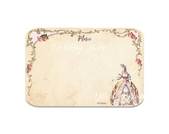 Marie Antoinette Merci Note cards,  Bridal Thank You Notes, Heavy Paper Note card, Shower Announce,  Bridesmaid  Thank you Cards