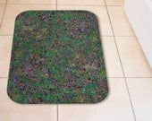Tiny Green Mosaic Tile Pattern Plush Bath Mat, Soft Microfibre Bathroom Floor Non-Slip Mat Small or Large, Busy Abstract Home Decor