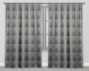 Industrial Gradient Grey Fabric Window Curtains, Triangle Geometric Tile Masculine Drapes