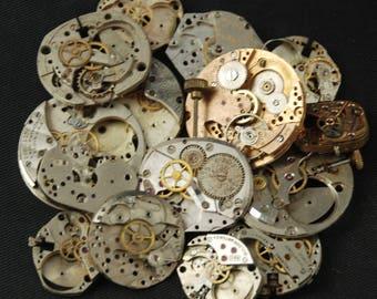 Destash Steampunk Watch Parts Movements Cogs Gears  Assemblage MR 12
