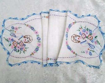 Vintage Linens Hand Embroidered Table Runner Dresser Scarf Southern Belle Bell Blue Crochet Lace Antique Table Linens Shabby Chic Cottage