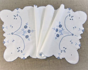 Antique Madeira Table Runner Hand Embroidered Dresser Scarf Embroidery Blue White Table Linens Vintage Linens