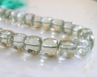 Deep Discount Sale Prasiolite Green Amethyst Gemstone Faceted Cube 9mm 10 beads 1/2 strand