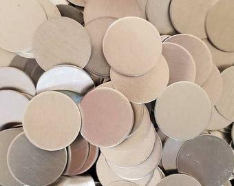 Aluminum Discs - 18 Gauge, stamping blanks, metal blanks, hypo-allergenic, food safe, hand stamping blanks, round blanks, stamping discs