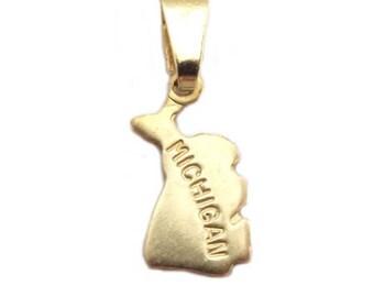 "Michigan  State Necklace.  Raw Brass.  18"" Gold Chain. Tiny."
