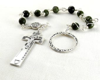 Irish Penal Rosary Beads Dark Green Connemara Marble Celtic Knot An Paidrin Beag Single Decade Chaplet Wire Wrapped Unbreakable Traditional