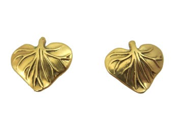 Costume Jewelry Gold Leaf Earrings - MMA 1980s