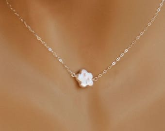 Real Freshwater Flower Pearl Necklace, Flower Girl Jewelry Gift, Pearl Child Necklace, Pearl Baby Necklace, Pearl in Sterling Silver, Girl