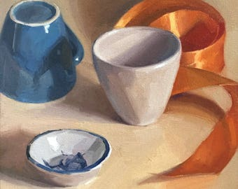"""Art painting still life by Sarah Sedwick """"Four Elements"""" 10x10"""""""