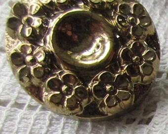 12 Vintage 1970s Czech Glass Buttons Handmade Gold Glass Czechoslovakia  #50