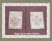 Folk Floral Hand Towel 2-Primitive Stitchery E-PATTERN-Instand Download