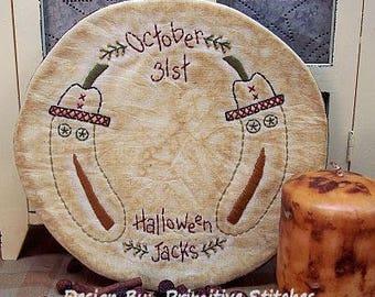 Halloween Jacks Candle Mat-Primitive Stitchery E-PATTERN-Instant Download