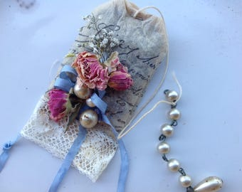 Tea Bag ALTERED ART - Filled with French Lavender Buds  - Embellished with dried flowers  - Perfect for Ladies Tea - Garden Party