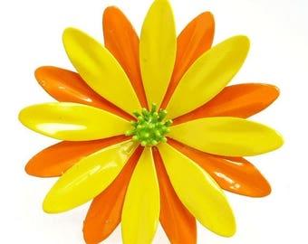 60s Mod Orange & Yellow Enamel Flower Brooch