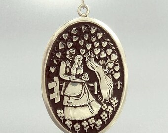 International Silver Sterling Newlywed Pendant Necklace Bride & Groom Tree Of Hearts