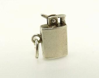 Vintage Sterling Silver Cigarette Cigar Lighter Charm Mechanical Charm
