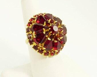 Vintage Garnet Red Rhinestone Ring Statement Jewelry Adjustable Ring