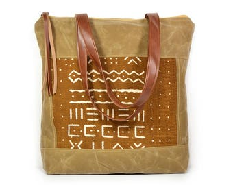 bucket tote • waxed canvas zipper tote bag - mudcloth • geometric print - african mud cloth - brown waxed canvas - world textiles