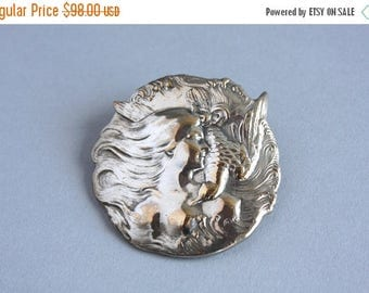 STOREWIDE SALE Antique Art Nouveau Brooch / Vintage Fishel Nessler and Co. Brooch / 1900s Silver Plated Lady Brooch