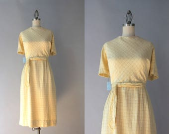 1960s Dress / Vintage 60s Jeanne Durrell Dress / Early 60s Rayon and Cotton Fitted Dress NOS with Tags M/L medium large