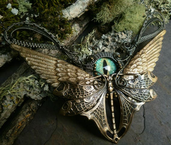 Gothic Steampunk Green Blue Eye with Dragonfly and Wings Necklace