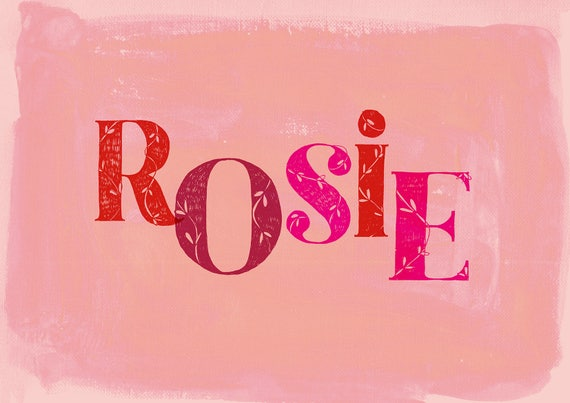 Kids Name Plaque Art Print - Custom Girls name in pinks and reds hand drawn type