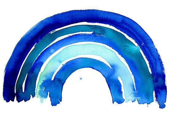 SALE-A2 Big Blue Rainbow Archival Wall Art Print Kids Decor Blue