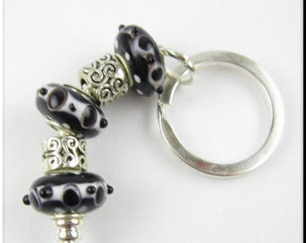 European Style Keychain Car Accessories Chunky Beads Black and White Bubble and Silver Tibetan Spacer Key Chain