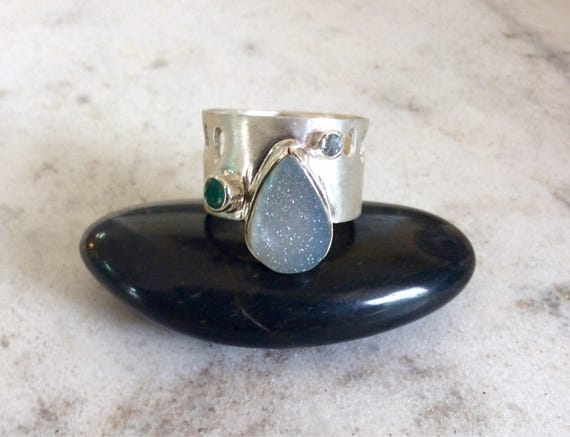 Sterling Silver Ring with Druzy Chalcedony Quartz, Aquamarine and Green Tourmaline