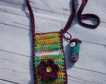 Cell phone case, cell phone wallet, cell phone pouch, chapstick holder, chapstick holder keychain, crossbody bag, crochet, crochet bag