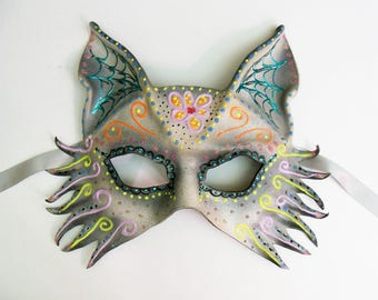 Leather Mask Sugar Skull Inspired Wolf Fox Dog by Teonova spooky and pretty very lightweight and easy to wear