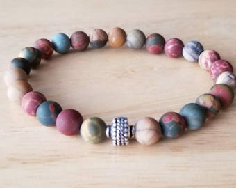 stone bracelet men, boho jewelry, jasper bracelet, gift dad, husband gift, mala beads bracelet, tribal bracelet, stacking bracelet, healing