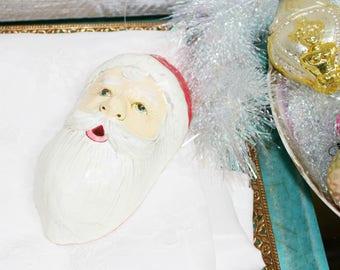 Vintage Paper Mache Santa Present Holder ornament