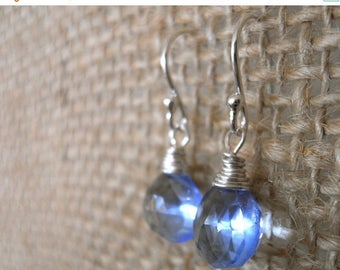 QUICKIE SALE 15% OFF, Tanzanite Blue Quartz Teenie Earrings- Sterling, Leverback Earrings, Periwinkle Earrings, Simple Drop Earrings