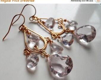 XMAS IN JULY 20% off, Morganite Pink Quartz, Rose Gold Vermeil Chandeliers, Pink Gemstone Pink Gold Vermeil Earrings